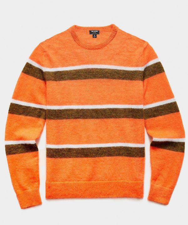 Striped Mohair Crew in Orange