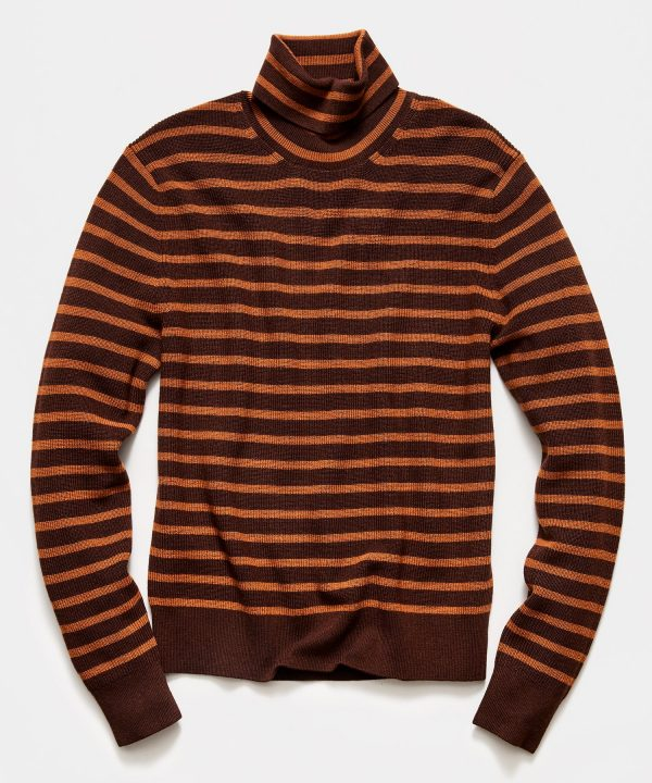 Striped Ribbed Turtleneck in Brown