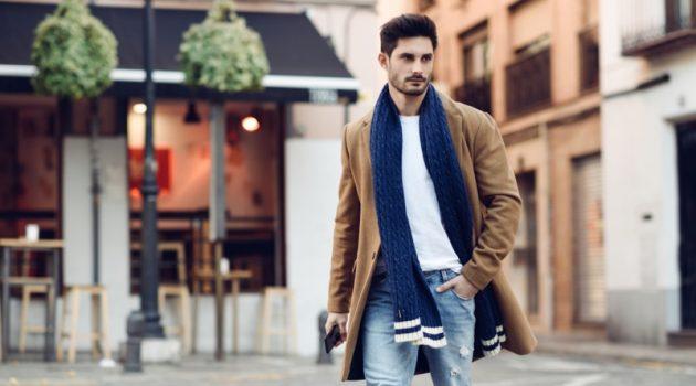 Stylish Man Walking Street Scarf Jeans Brown Coat