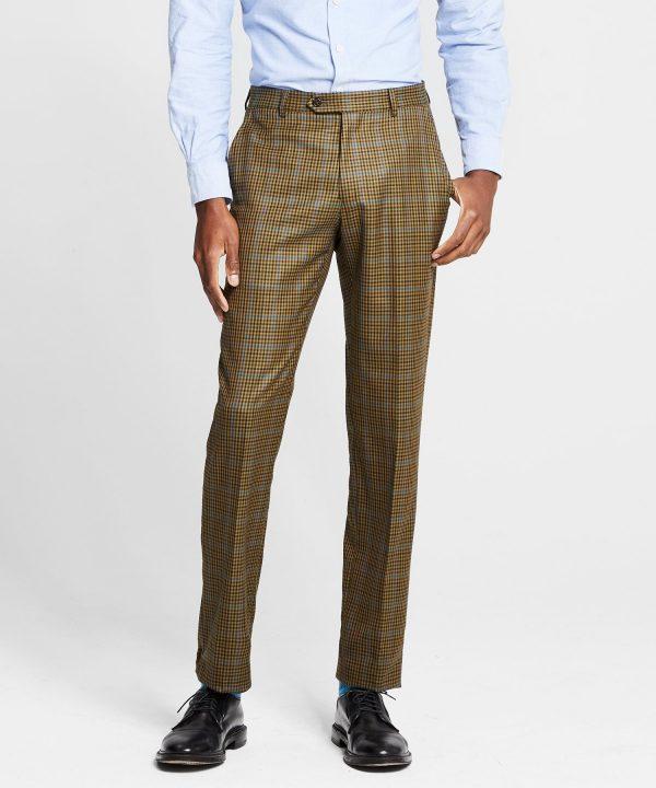 Sutton Italian Check Trouser in Olive Blue