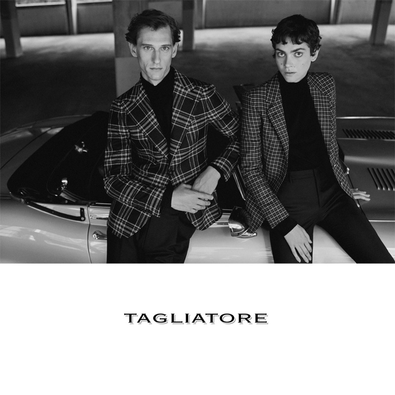 Models Rogier Bosschaart and Amandine Renard appear in Tagliatore's fall 2020-winter 2021 campaign.