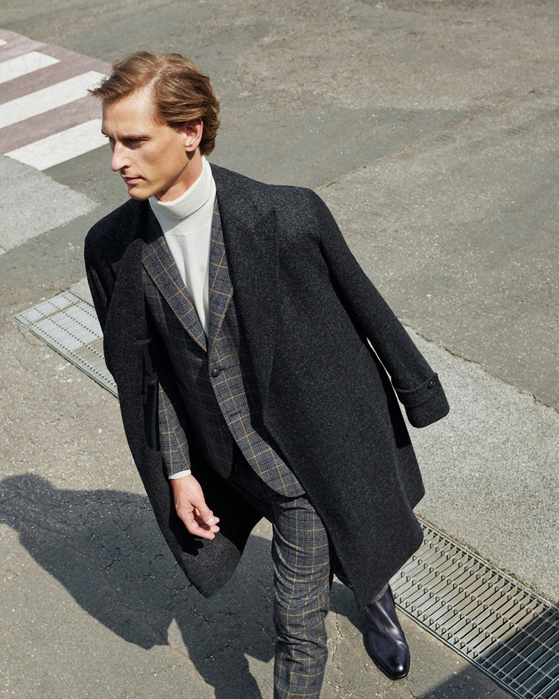 Donning sartorial style, Rogier Bosschaart stars in Tagliatore's fall 2020-winter 2021 men's campaign.