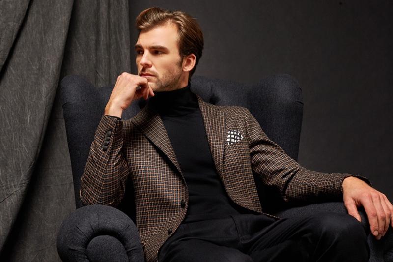 Patrick Kafka stars in Tagliatore's fall 2020-winter 2021 men's collection lookbook.