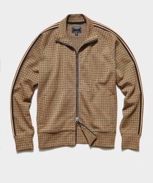 Tattersall Plaid Track Jacket in Tan