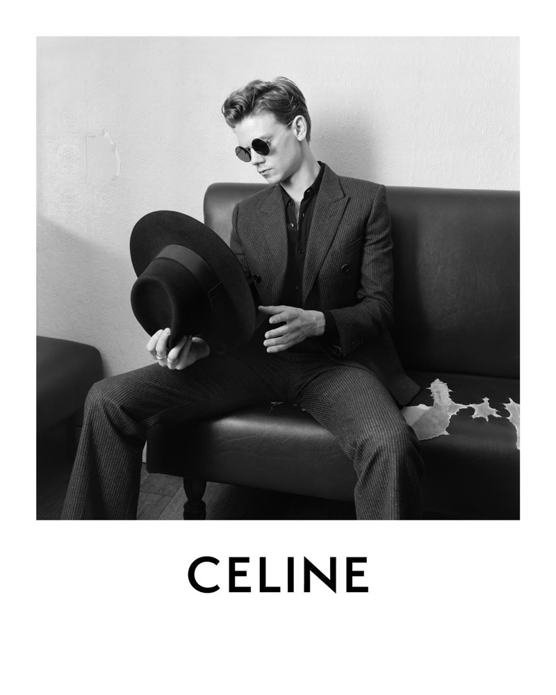 Hedi Slimane photographs Thomas Brodie-Sangster for Celine's spring-summer 2021 campaign.