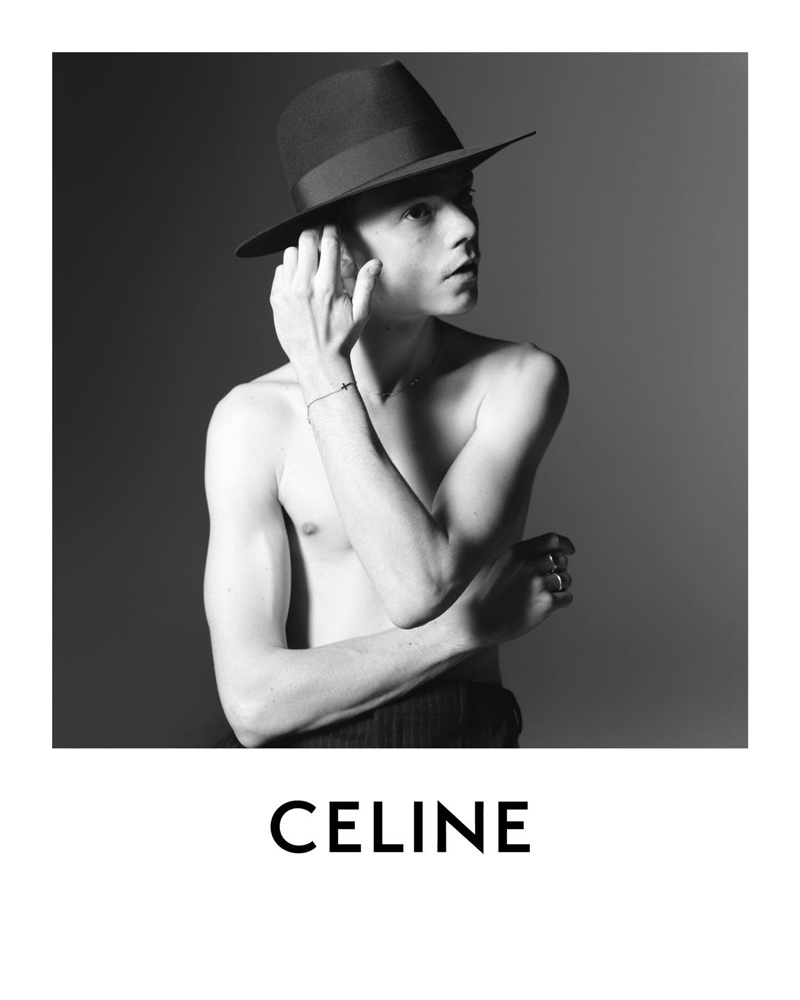 Front and center, a shirtless Thomas Brodie-Sangster appears in Celine's spring-summer 2021 campaign.