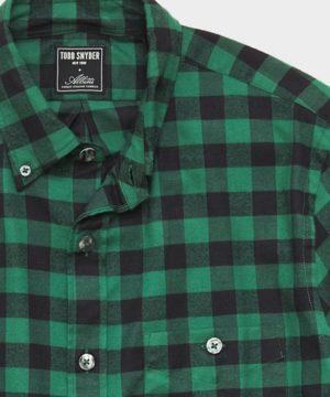 Thomas Mason Buffalo Check Brushed Twill Shirt in Green