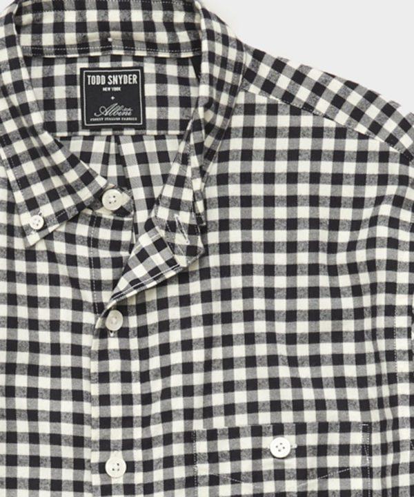 Thomas Mason Gingham Brushed Twill Shirt in Black White