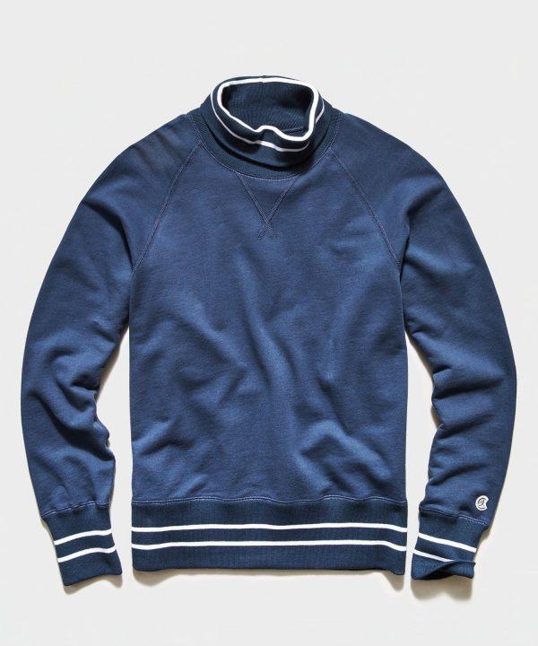 Tipped Turtleneck Sweatshirt in Hale Navy