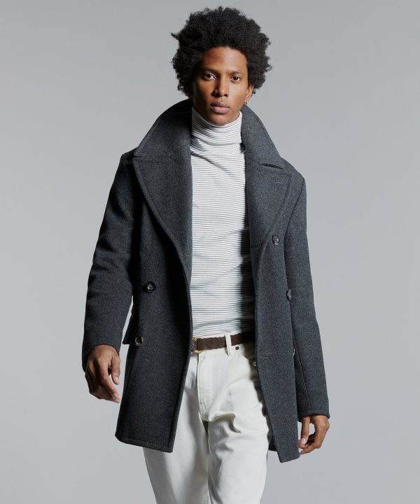 Todd Snyder + Private White Manchester Wool Cashmere Peacoat in Charcoal