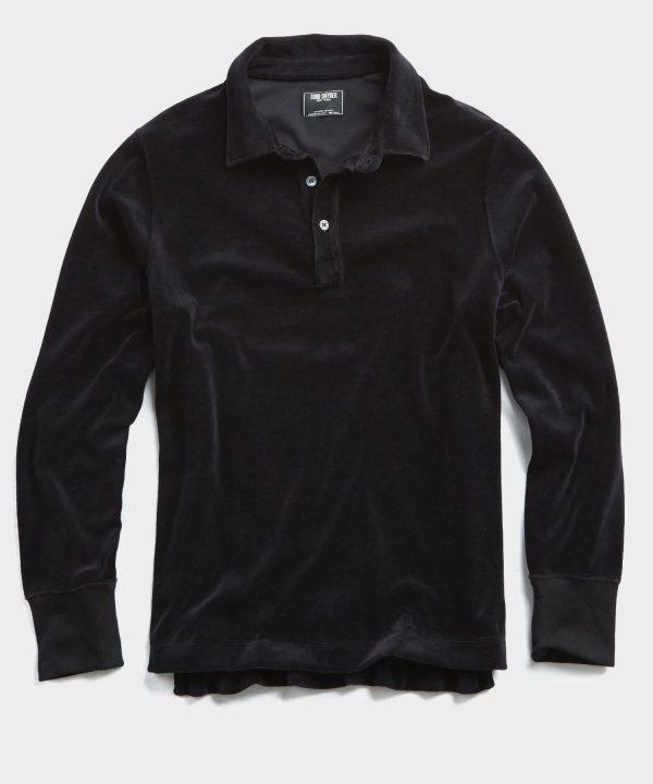 Velour Long Sleeve Polo in Black