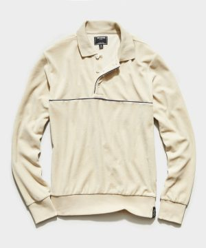 Velour Piped Polo in Sand