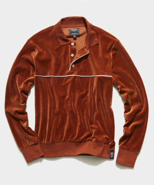 Velour Piped Polo in Spice