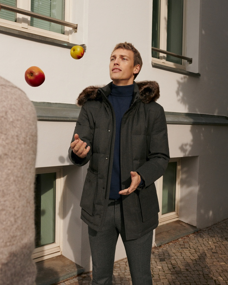 Victor Nylander sports a charcoal-colored winter look from Massimo Dutti.