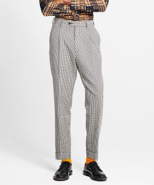 Washed Wool Cotton Check Madison Pleated Suit Trouser in Ivory
