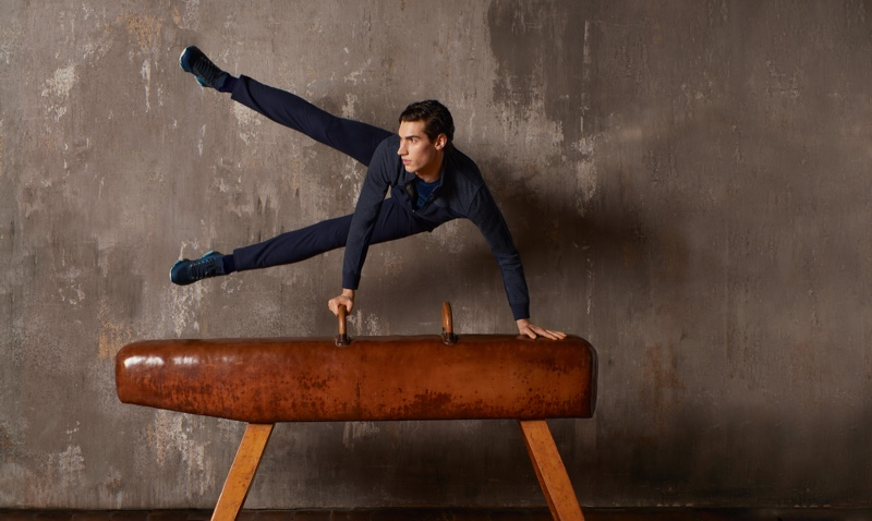Marco Bozzato takes to a leather pommel horse for ZILLI Sport's fall-winter 2020 campaign.