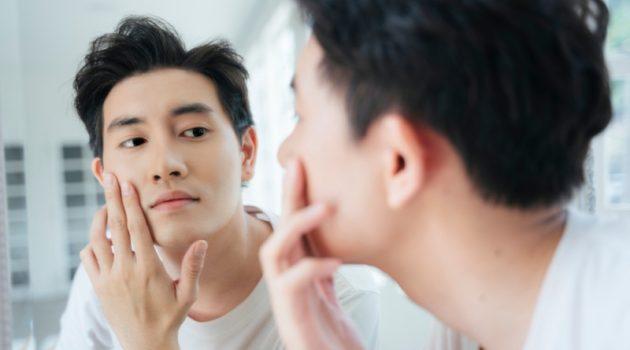 Asian Man Mirror Grooming