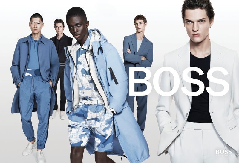 Yun Hoseok, Valentin Caron, Jeremiah Berko-Fourdjour, and Luc Defont-Saviard embrace blue and neutral tones for BOSS's spring-summer 2021 men's campaign.