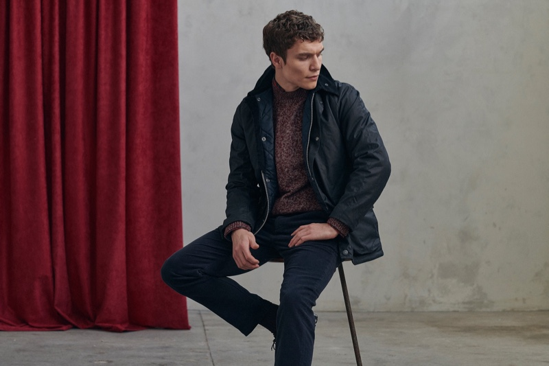 British model George Admiraal is the face of Barbour's men's Tartan collection.