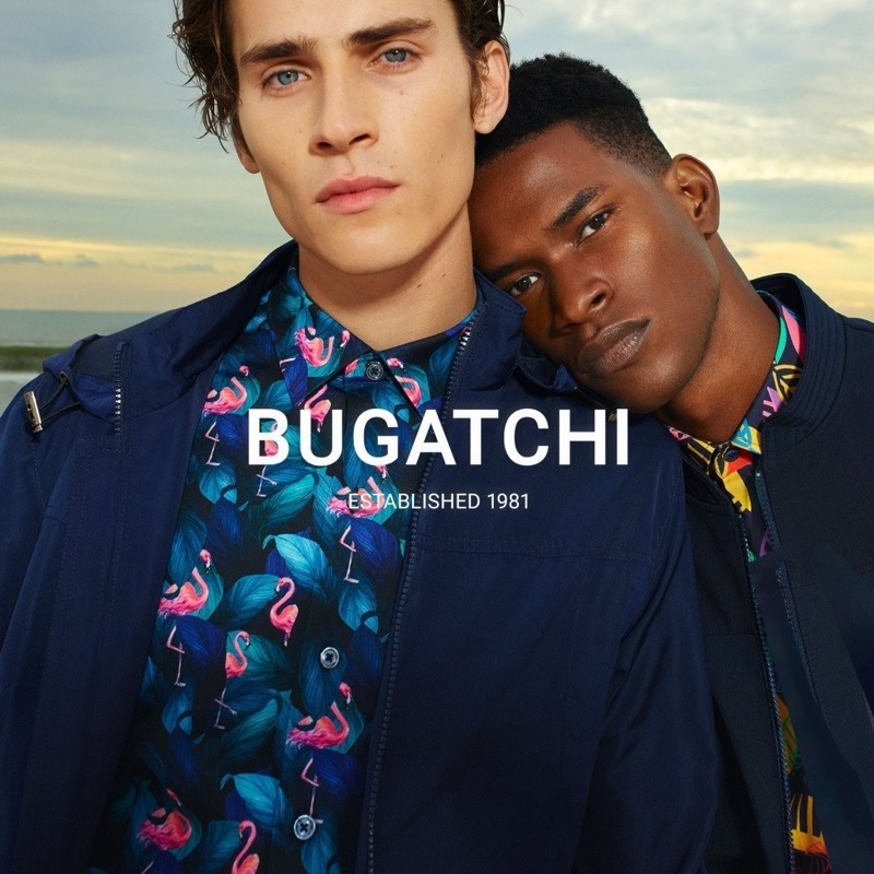 Models Liam Kelly and Salomon Diaz front Bugatchi's spring-summer 2021 men's campaign.