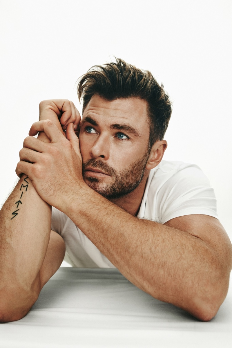 Sitting for a portrait, Chris Hemsworth is BOSS' latest global brand ambassador.