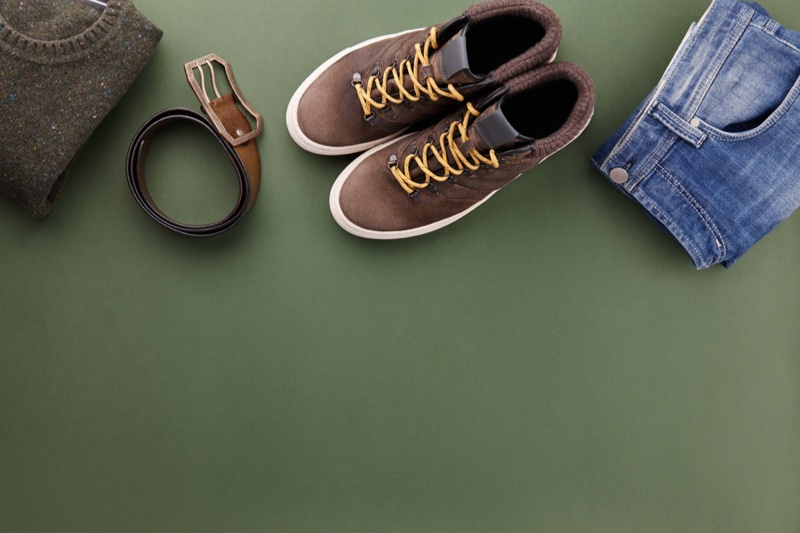 Clothing Sneakers belt Jeans Green Background