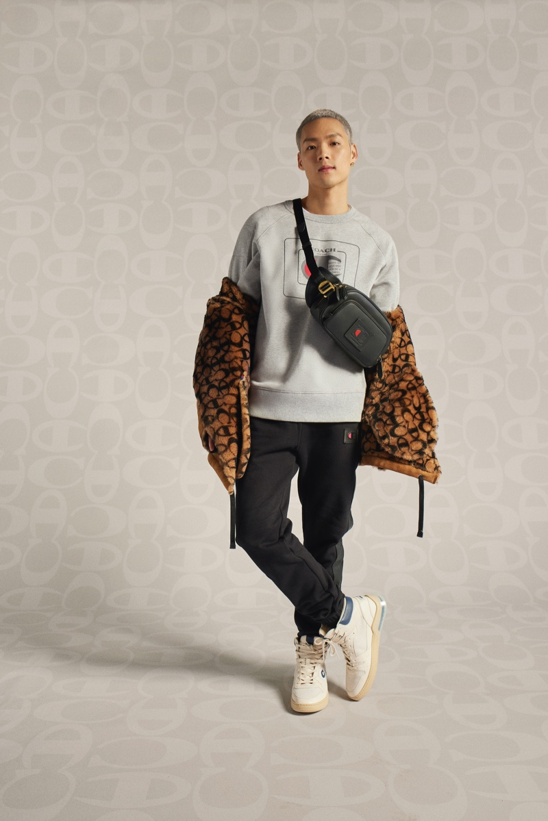 Entertainer Jeffrey Tung rocks a sporty look from the Coach x Champion collection.