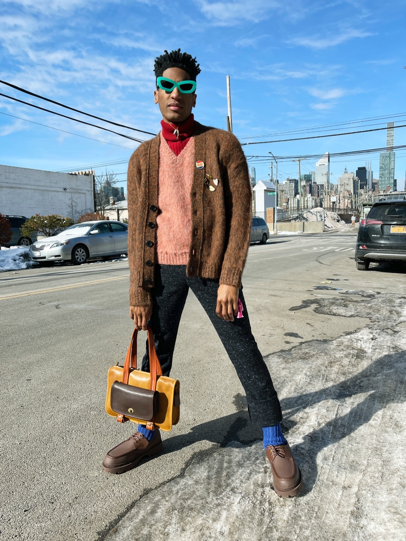 Jon Batiste embraces quirky style in an ensemble from Coach's fall-winter 2021 men's collection.