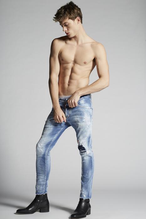 DSQUARED2 Men 5 pockets Blue Size 40 92% Cotton 6% Elastomultiester 2% Elastane Bovine leather