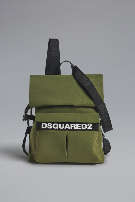 DSQUARED2 Men Backpack Military green Size OneSize 91% Polyester 7% Polyurethane 2% Bovine leather