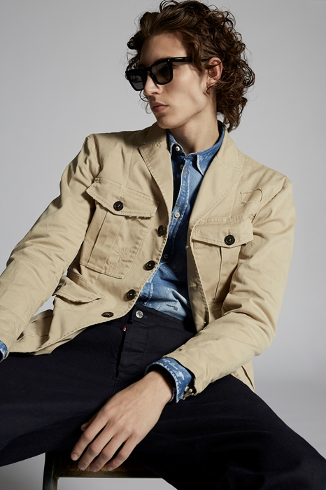 DSQUARED2 Men Blazer Beige Size 44 97% Cotton 3% Elastane