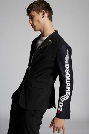 DSQUARED2 Men Blazer Black Size 44 95% Virgin Wool 5% Elastane