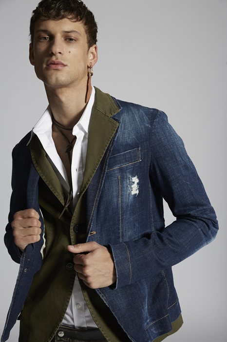 DSQUARED2 Men Blazer Blue Size 42 98% Cotton 2% Elastane
