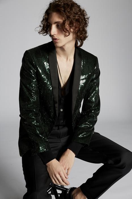 DSQUARED2 Men Blazer Green Size 38 100% Polyester Silk