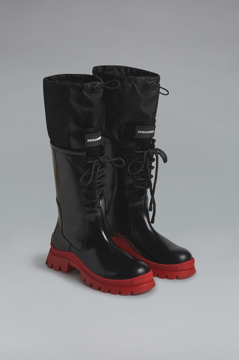 DSQUARED2 Men Boot Black Size 8 80% Calfskin 20% Polyamide