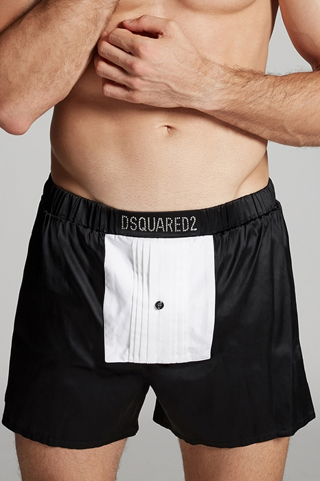 DSQUARED2 Men Boxer Black Size XL 93% Silk 7% Elastane