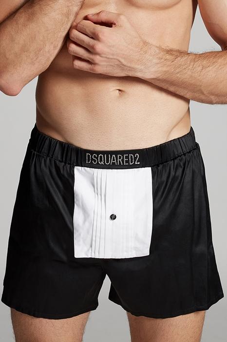 DSQUARED2 Men Boxer Black Size XXL 93% Silk 7% Elastane