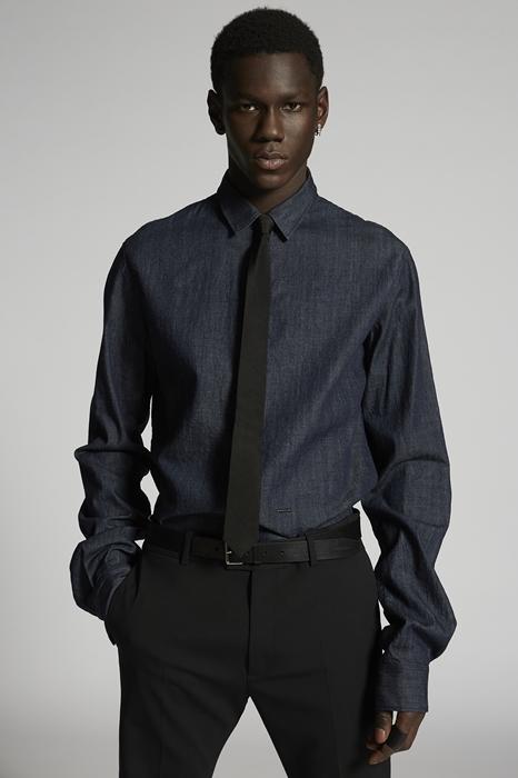 DSQUARED2 Men Denim shirt Blue Size 44 100% Cotton