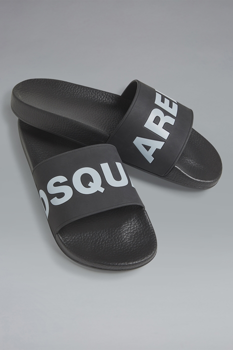 DSQUARED2 Men Flip flops Black Size 6 100% Polyurethane