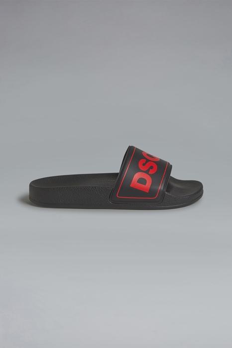 DSQUARED2 Men Flip flops Black Size 6Y 82% PVC - Polyvinyl chloride 17% Polyester 1% Polyurethane