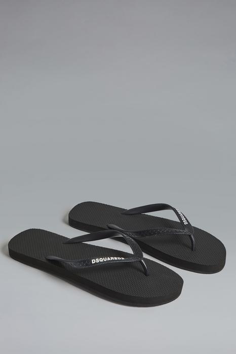 DSQUARED2 Men Flip flops Black Size 8 100% Rubber