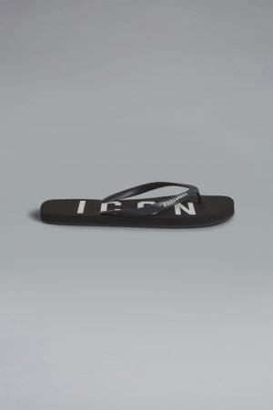 DSQUARED2 Men Flip flops Black Size 9 100% Rubber