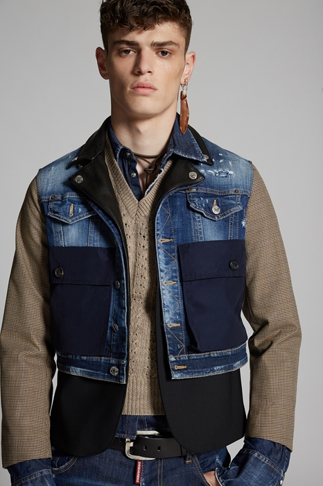 DSQUARED2 Men JACKET/BLAZER Blue Size 36 98% Cotton 2% Elastane Virgin Wool