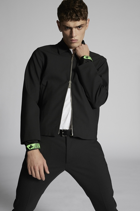 DSQUARED2 Men Kaban Black Size 46 53% Polyester 43% Virgin Wool 4% Elastane