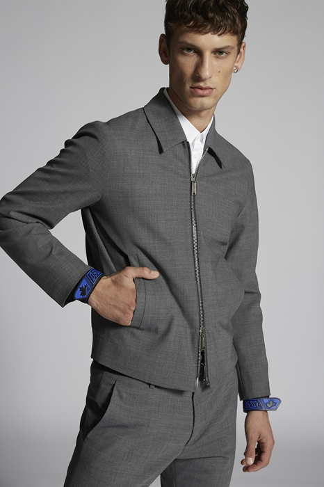 DSQUARED2 Men Kaban Grey Size 36 53% Polyester 43% Virgin Wool 4% Elastane