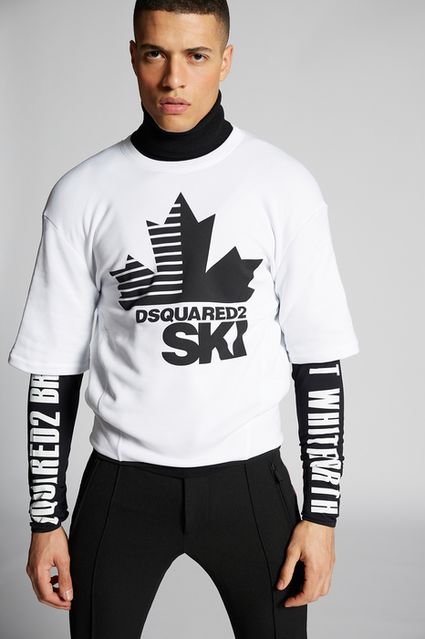DSQUARED2 Men Long sleeve t-shirt White Size L 95% Polyester 5% Elastane