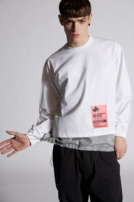DSQUARED2 Men Long sleeve t-shirt White Size S 100% Cotton Polyamide