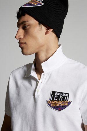 DSQUARED2 Men Polo shirt White Size L 100% Cotton