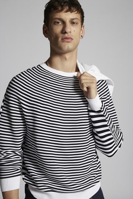 DSQUARED2 Men Pullover Black/White Size XL 100% Cotton