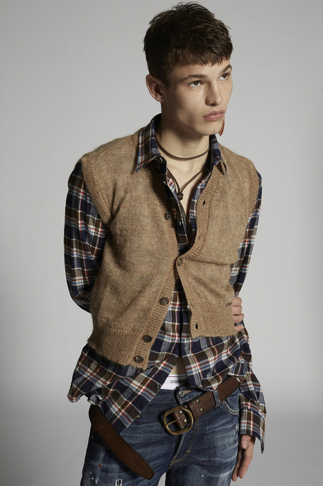 DSQUARED2 Men Pullover Camel Size L 66% Mohair 30% Nylon 4% Wool